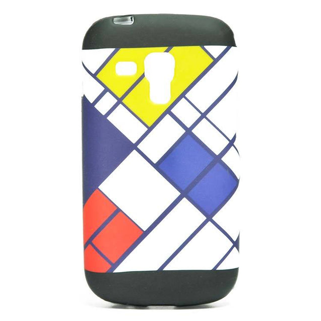 Samsung Galaxy S Duos 2 S7582 Back Cover Soft Printed Zig Zag Lines Case Black with Yellow