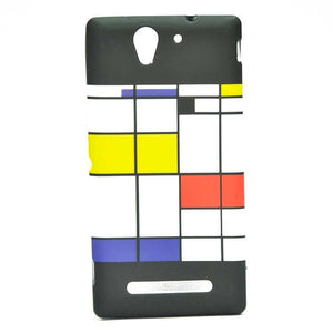 Sony Xperia C3 Back Cover Soft Printed Fashion Case Multicolor (Black with White/Yellow)