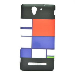 Sony Xperia C3 Back Cover Soft Printed Fashion Case Multicolor (Black with Blue/Red)