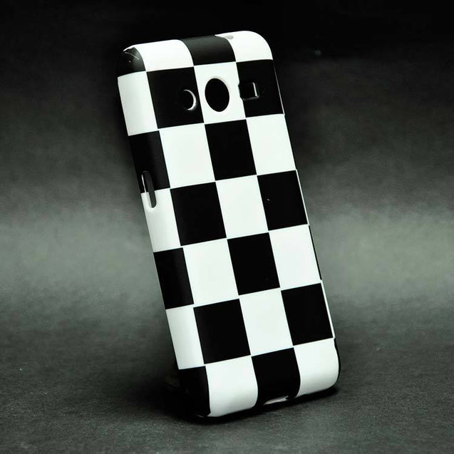 Samsung Galaxy Core 2 G355H Back Cover Soft Fashion Case White Black Checks