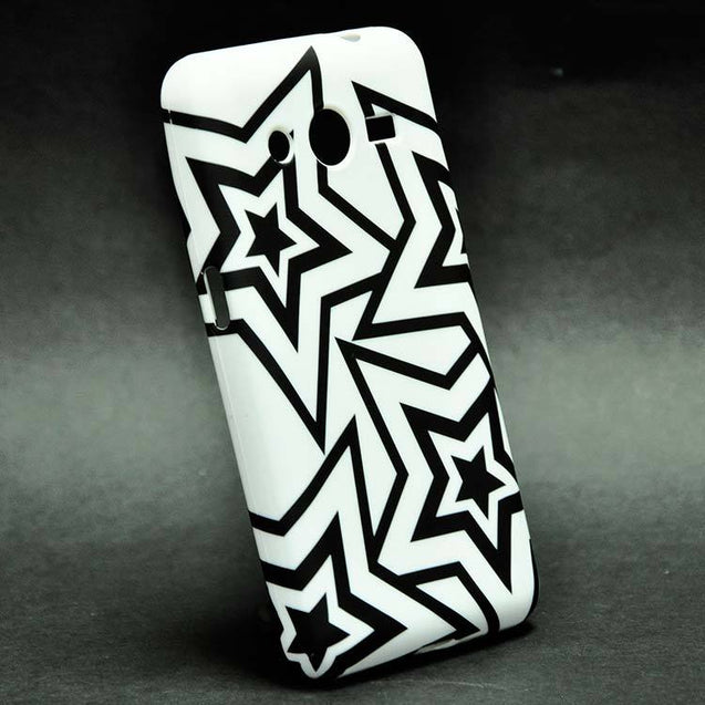 Samsung Core 2 G355H Back Cover Soft Fashion Case White Black Stars