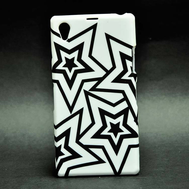 Sony Xperia Z1 Back Cover Soft Fashion Case White Black Stars