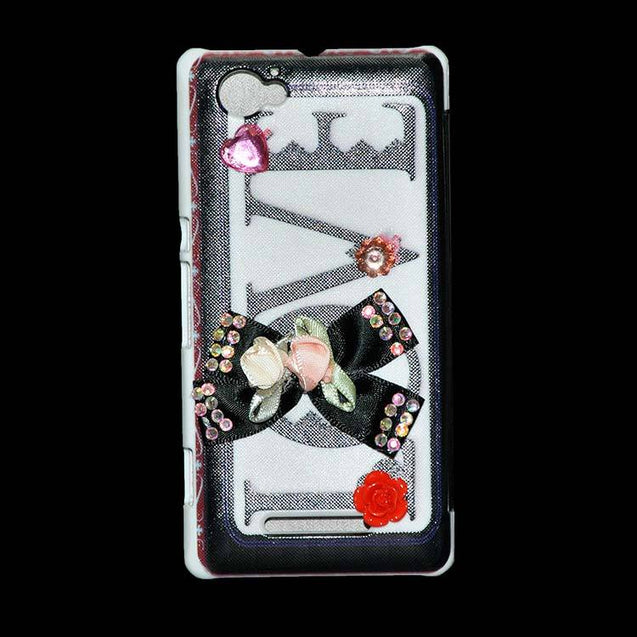 Sony Xperia M Flip Cover Fancy 3D Flower Fashion Printed Love Design Luxury Case Black