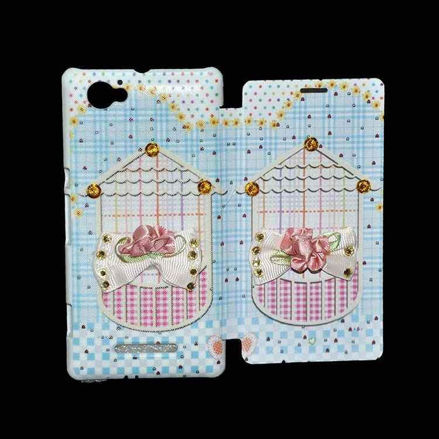Sony Xperia M Flip Cover Fancy 3D Flower Fashion Home Design Flip Case Sky Blue