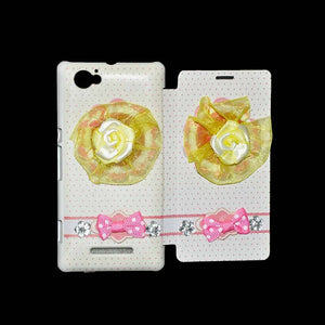 Sony Xperia M Flip Cover Fancy 3D Yellow Flower Fashion Design Luxury Flip Case