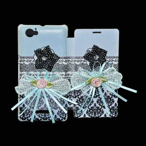Sony Xperia M Flip Cover Ethnic 3D Flower Fashion Design Luxury Flip Case Sky Blue