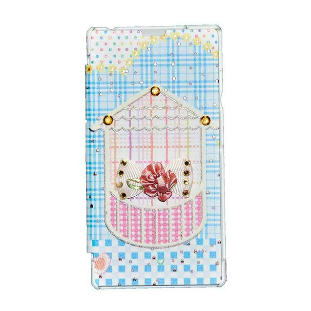 Sony Xperia T3 Flip Cover Fancy 3D Flower Fashion Home Design Flip Case Sky Blue