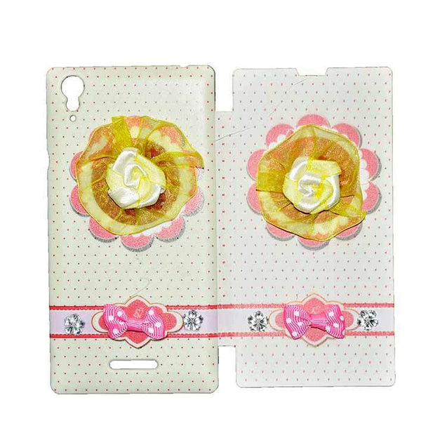 Sony Xperia T3 Flip Cover Fancy 3D Yellow Flower Fashion Design Luxury Flip Case