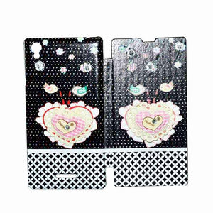 Sony Xperia T3 Flip Cover Fancy Flower 3D Heart Fashion Design Flip Case Black