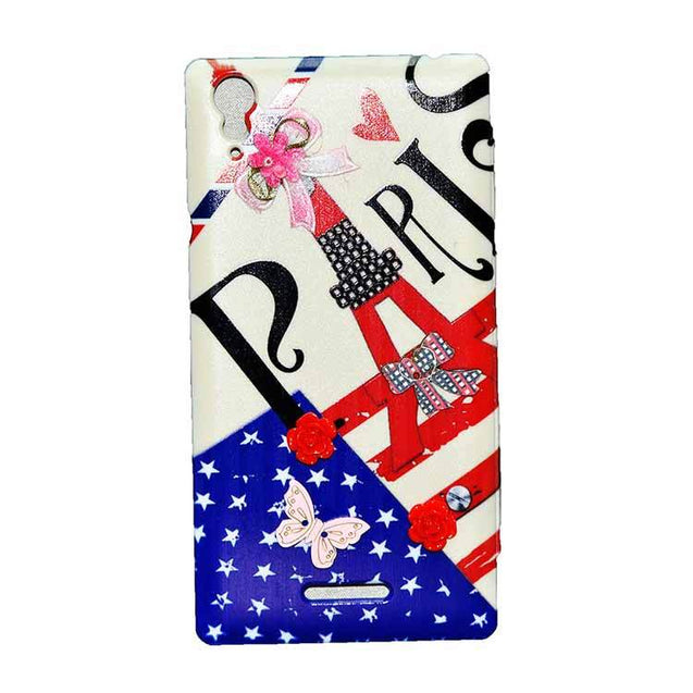 Sony Xperia T3 Flip Cover Fancy 3D Flower Pearl Fashion Windows Design Luxury Pink Case
