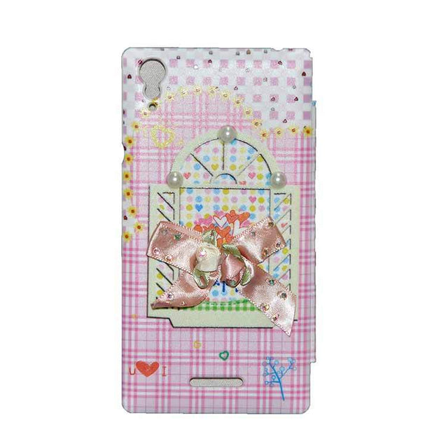 Sony Xperia T3 Flip Cover Fancy 3D Flower Pearl Fashion Windows Design Luxury Case Pink