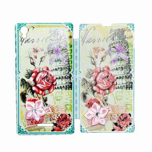 Sony Xperia T3 Flip Cover Fancy 3D Rose Flower Pearl Fashion Design Case Green