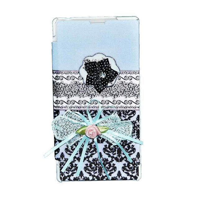 Sony Xperia T3 Flip Cover Ethnic 3D Flower Fashion Design Luxury Flip Case Sky Blue