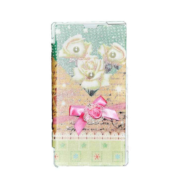 Sony Xperia T3 Flip Cover Fancy 3D Flower Pearl Fashion Design Luxury Case White Rose