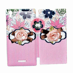 Sony Xperia T3 Flip Cover Fancy 3D Flower Pink Lines Fashion Design Luxury Case