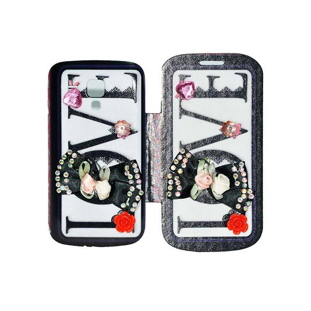 Samsung Galaxy S Duos Flip Cover Fancy 3D Flower Fashion Printed Love Design Luxury Case Black