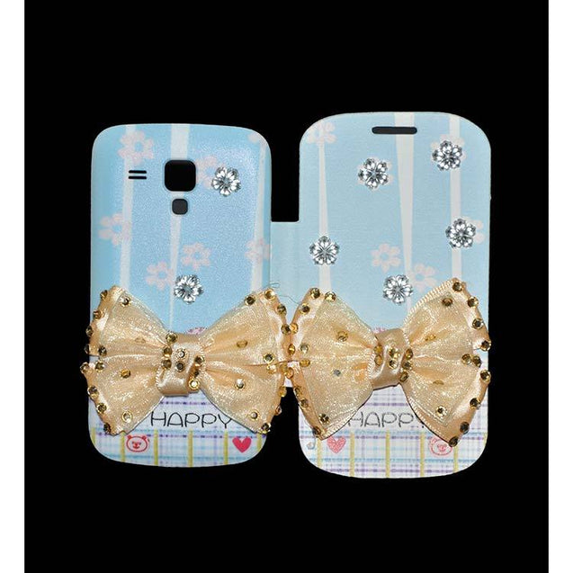 Samsung Galaxy S Duos Flip Cover Fancy 3D Butterfly Fashion Happy Design Luxury Case Sky Blue