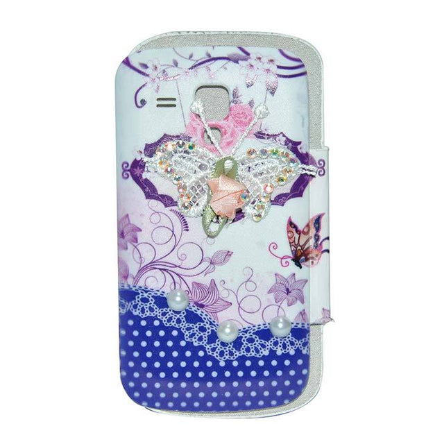 Samsung Galaxy S Duos Flip Cover Fancy 3D Butterfly Pearl Fashion Design Flip Case Blue