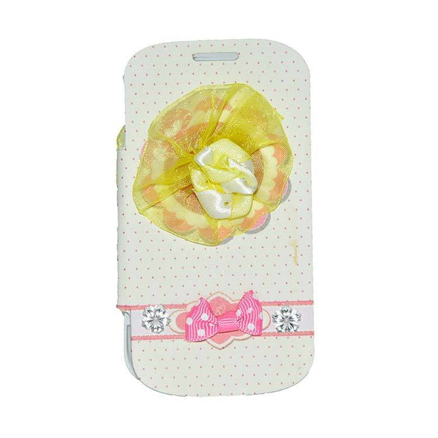 Samsung Galaxy S Duos Flip Cover Fancy 3D Yellow Flower Fashion Design Luxury Flip Case