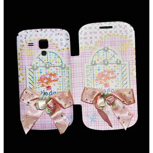 Samsung Galaxy S Duos Flip Cover Fancy 3D Flower Pearl Fashion Windows Design Luxury Case Pink
