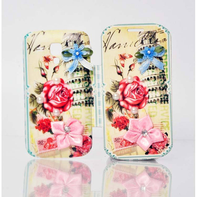 Samsung Galaxy S Duos Flip Cover Fancy 3D Rose Flower Pearl Fashion Design Luxury Flip Case Green