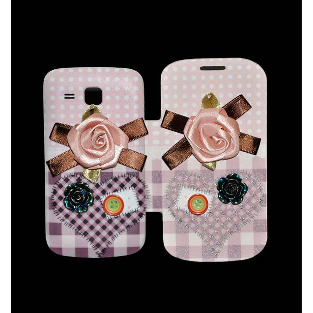 Samsung Galaxy S Duos Flip Cover Fancy 3D Pink Flower with Button Fashion Design Luxury Flip Case