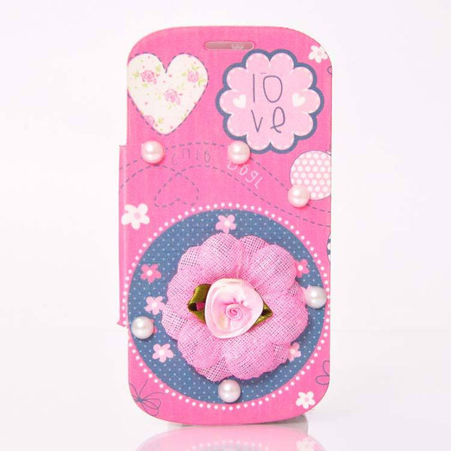 Samsung Galaxy S Duos Flip Cover Fancy 3D Flower Pearl Fashion Design Luxury Case Pink Rose