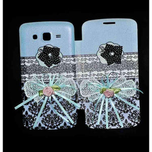 Samsung Galaxy Grand Flip Cover Ethnic 3D Flower Fashion Design Flip Case Sky Blue
