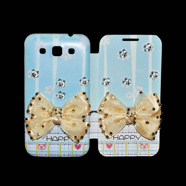 Samsung Grand Quattro Flip Cover Fancy 3D Butterfly Fashion Happy Design Luxury Case Sky Blue