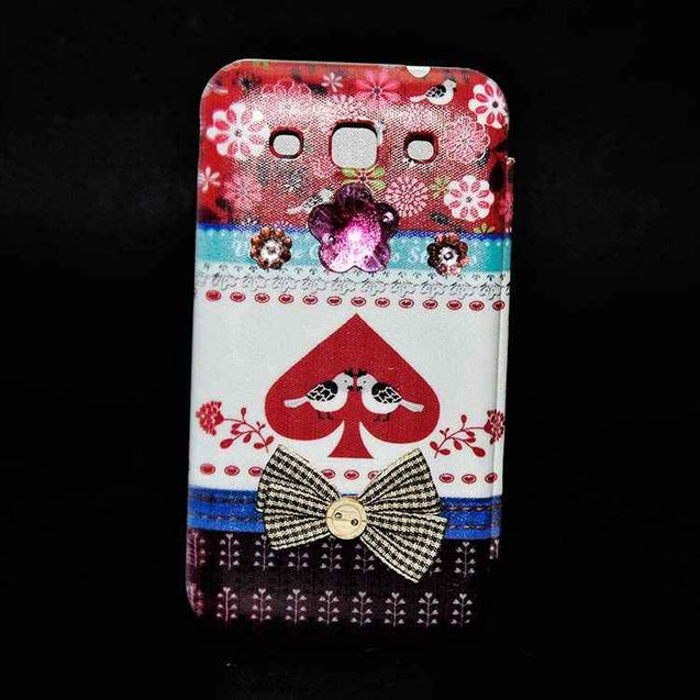 Samsung Galaxy Grand Quattro Flip Cover Fancy 3D Fashion Tri Color Design Luxury Case