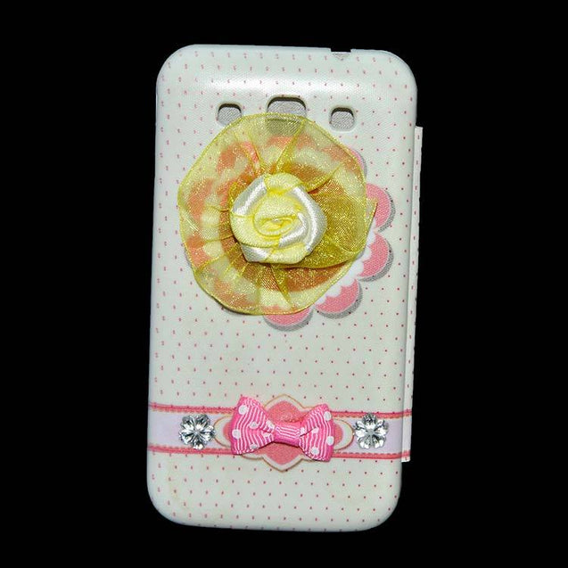 Samsung Galaxy Grand Quattro Flip Cover Fancy 3D Yellow Flower Fashion Design Luxury Flip Case