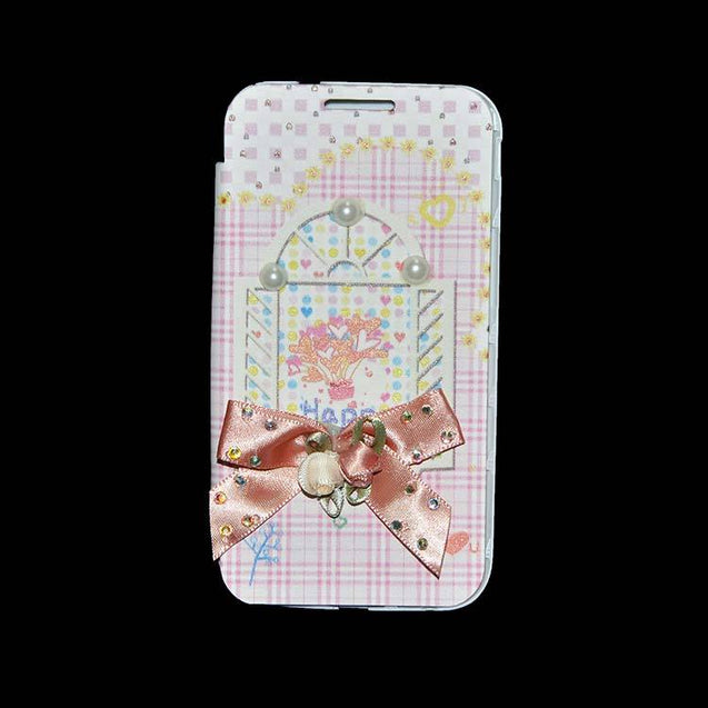 Samsung Galaxy Grand Quattro Flip Cover Fancy 3D Flower Pearl Fashion Windows Design Case Pink