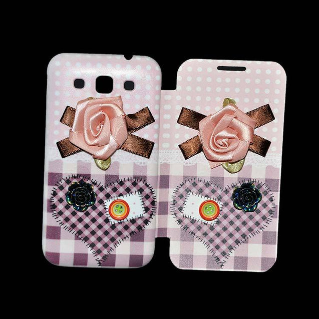 Samsung Grand Quattro Flip Cover Fancy 3D Pink Flower with Button Fashion Flip Case