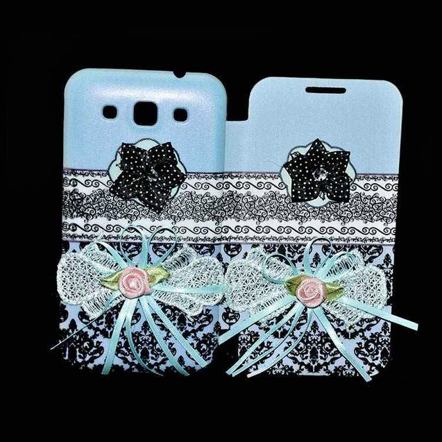 Samsung Galaxy Grand Quattro Flip Cover Ethnic 3D Flower Fashion Design Flip Case Sky Blue