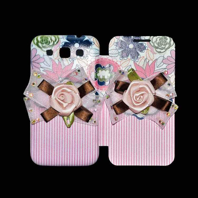 Samsung Galaxy Grand Quattro Flip Cover Fancy 3D Flower Pink Lines Fashion Design Luxury Case