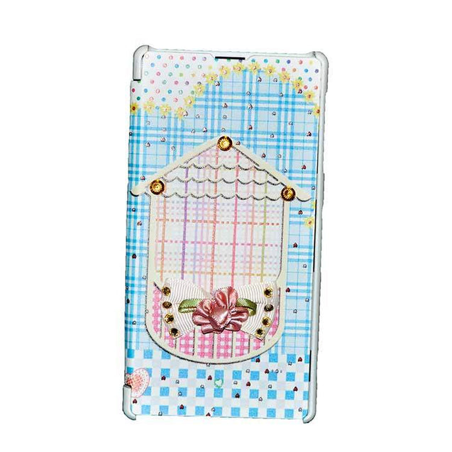 Sony Xperia Z1 Flip Cover Fancy 3D Flower Fashion Home Design Luxury Flip Case Sky Blue
