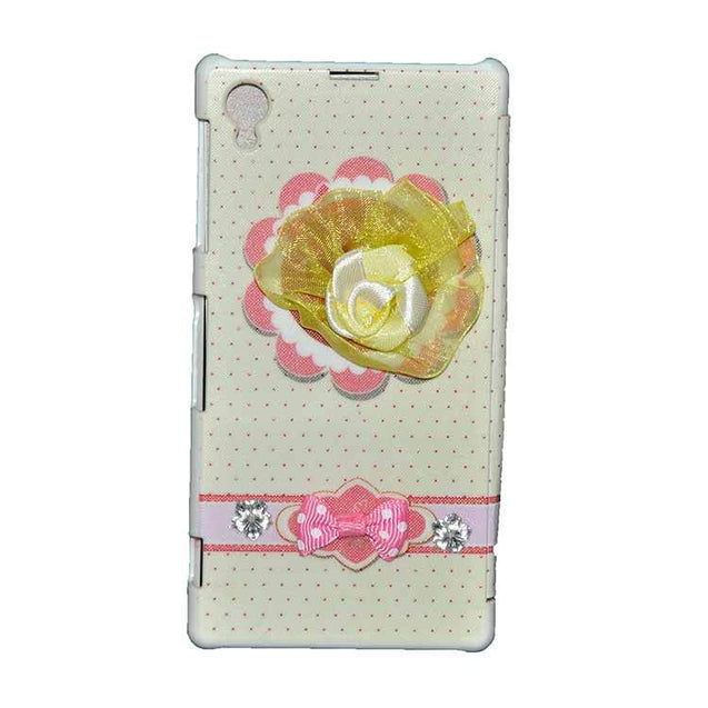 Sony Xperia Z1 Flip Cover Fancy 3D Yellow Flower Fashion Design Luxury Flip Case