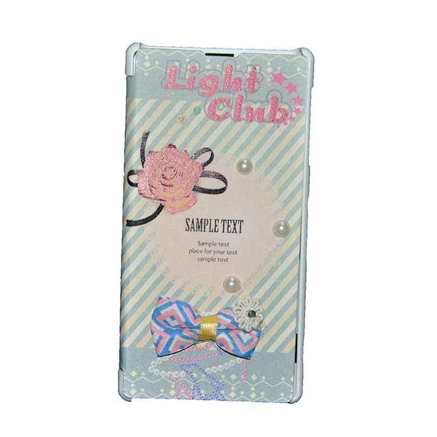 Sony Xperia Z1 Flip Cover Fancy Flower 3D Pearl Fashion Sample Text Design Case