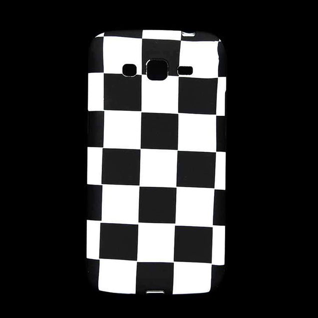 Samsung Galaxy Grand Back Cover Soft Printed Fashion Case White Black Checks