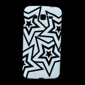 Samsung Galaxy Grand 2 Back Cover Soft Fashion Case White With Black Stars