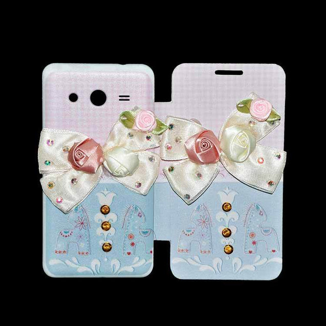 Samsung Galaxy Core 2 Flip Cover Fancy 3D Flower Fashion Checks Design Luxury Case Pink Sky Blue