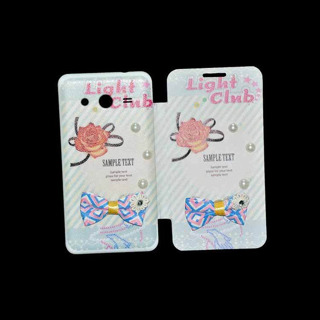 Samsung Galaxy Core 2 Flip Cover Fancy Flower 3D Pearl Fashion Sample Text Design Case