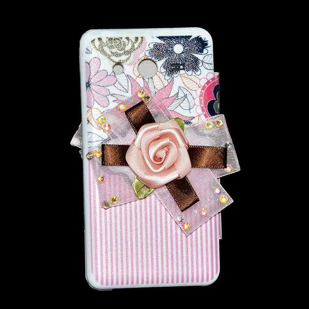 Samsung Galaxy Core 2 Flip Cover Fancy 3D Flower Pink Lines Fashion Design Luxury Case