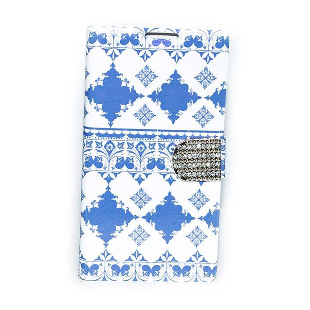 Sony Xperia C Flip Cover Luxury Ethnic Magnetic Flip Diamond Button Design Case White With Blue