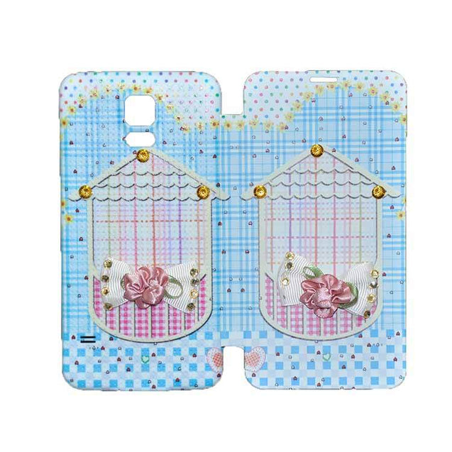 Samsung Galaxy S5 Flip Cover Fancy 3D Flower Fashion Home Design Case Sky Blue