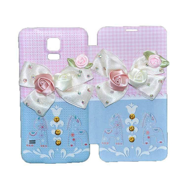 Samsung Galaxy S5 Flip Cover Fancy 3D Flower Checks Design Case Pink Sky Blue