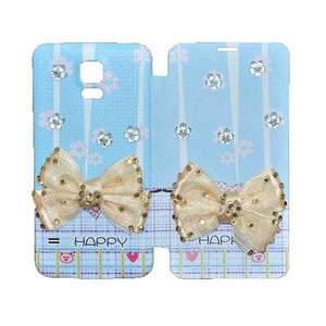 Samsung Galaxy S5 Flip Cover 3D Butterfly Fashion Happy Design Case Sky Blue