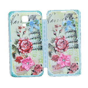 Samsung Galaxy S5 Flip Cover Fancy 3D Rose Pearl Fashion Design Case Green