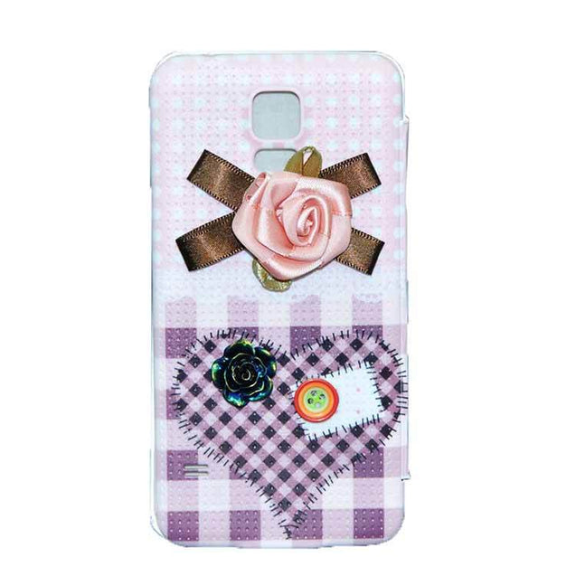 Samsung Galaxy S5 Flip Cover 3D Pink Flower with Button Fashion Design Case