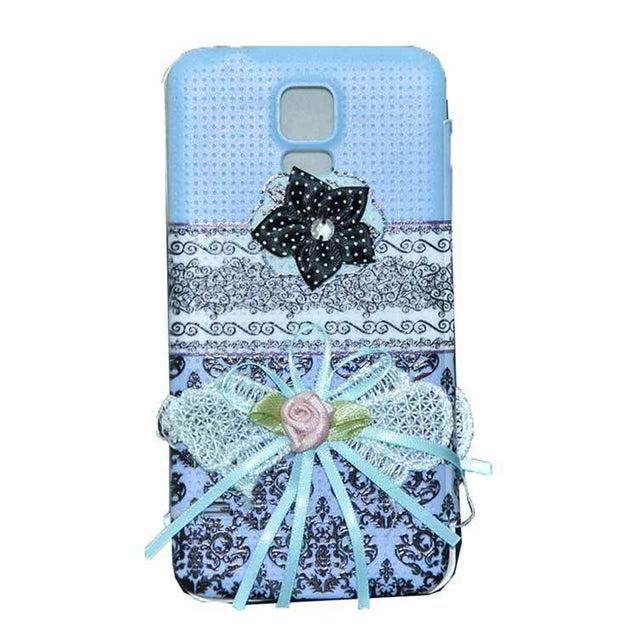 Samsung Galaxy S5 Flip Cover Ethnic 3D Flower Fashion Design Case Sky Blue